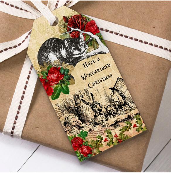 Alice In Wonderland Vintage Rustic Christmas Gift Tags