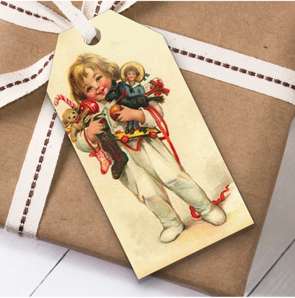 Vintage Traditional Small Child Christmas Gift Tags
