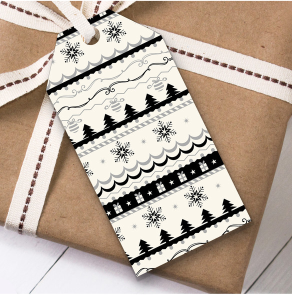 Black And Cream Tree Pattern Christmas Gift Tags