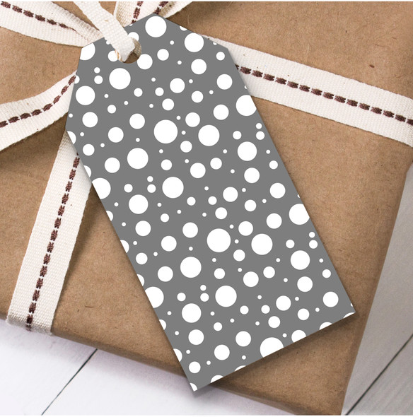 Grey With White Bubbles Christmas Gift Tags
