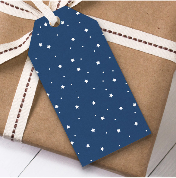 Navy Blue & White Stars Christmas Gift Tags