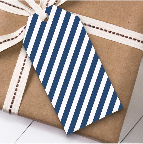 Navy Blue White Stripes Christmas Gift Tags