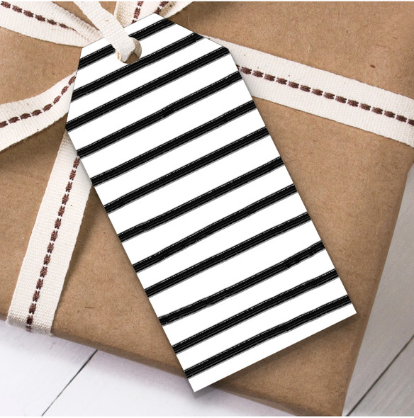 Black & White Stripes Christmas Gift Tags