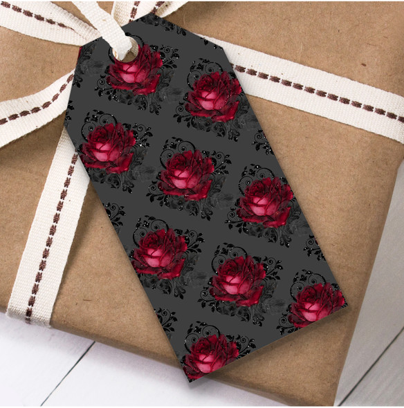 Gothic Grey Red Roses Christmas Gift Tags