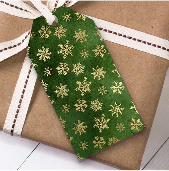 Green Gold Snowflakes Christmas Gift Tags