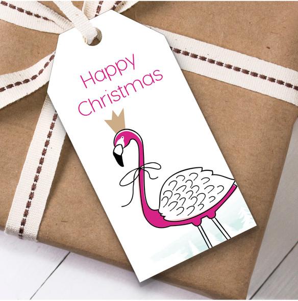 Bright Pink Flamingo Christmas Gift Tags