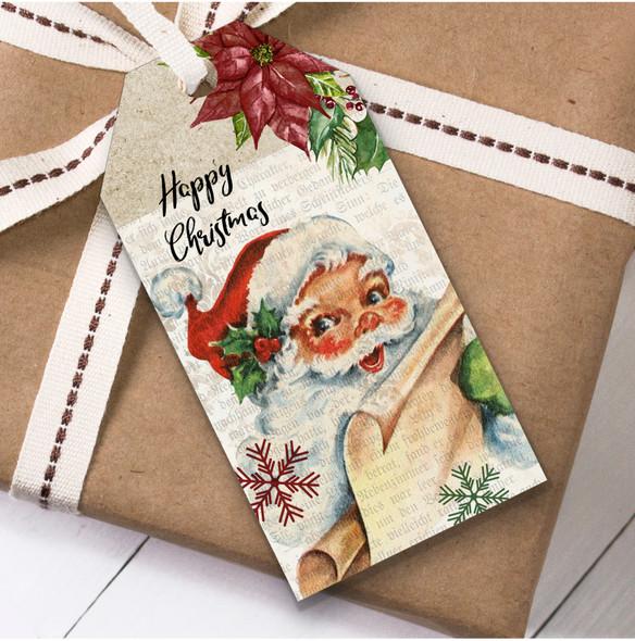 Rustic Vintage Santa Christmas Gift Tags