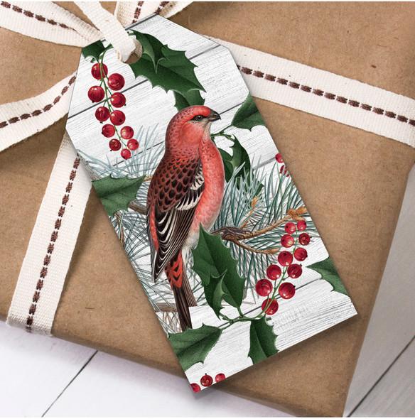 Vintage Bird & Holly Christmas Gift Tags