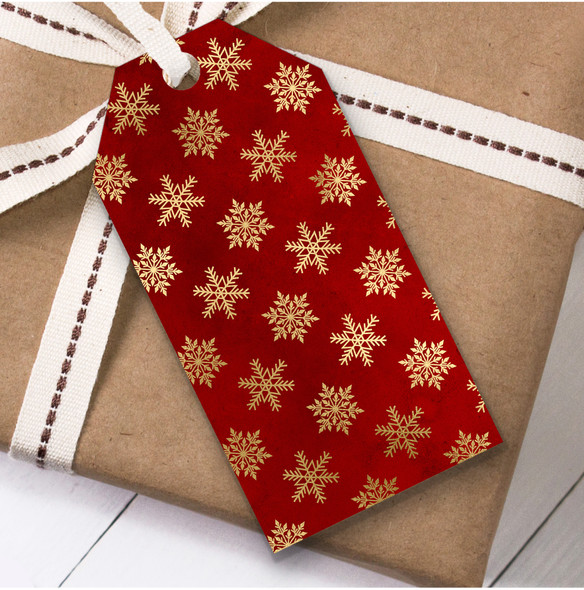 Red Gold Snowflakes Christmas Gift Tags