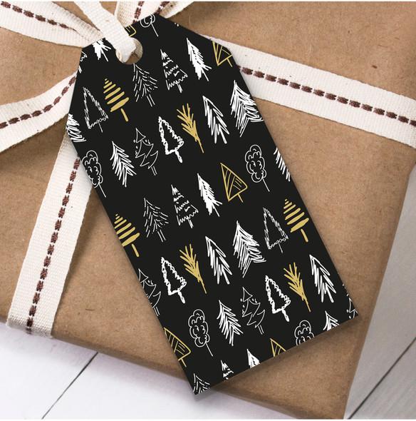 Black & Gold Trees Christmas Gift Tags
