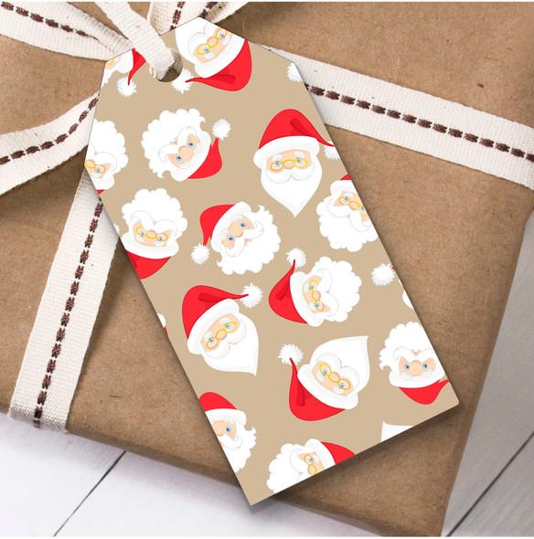 Bright Santa Faces Christmas Gift Tags