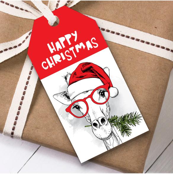 Giraffe In Glasses Christmas Gift Tags