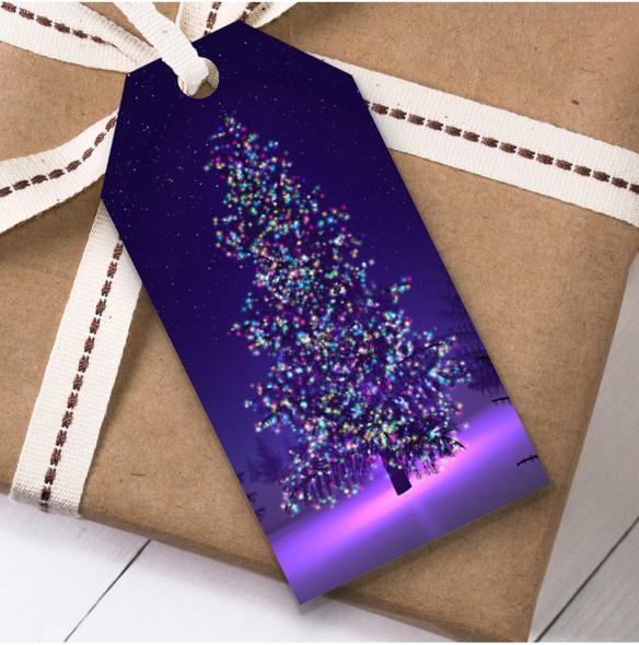 Purple Tree Lights Christmas Gift Tags