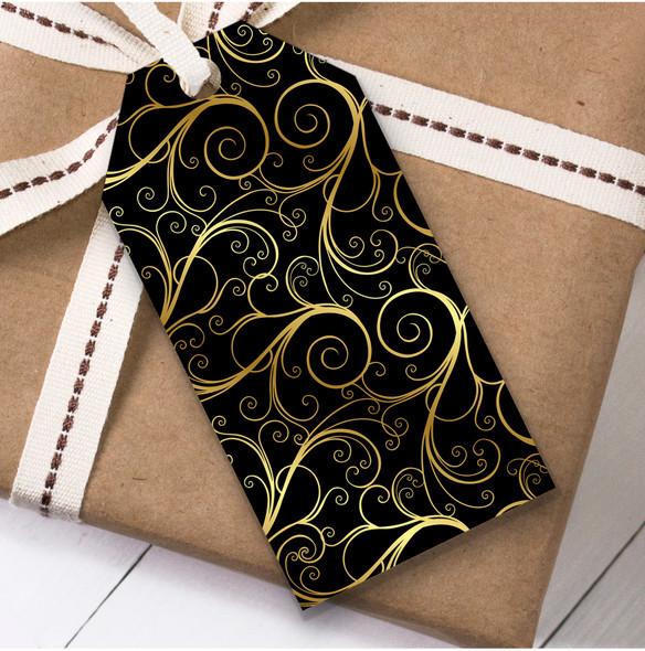 Black Gold Swirls Christmas Gift Tags