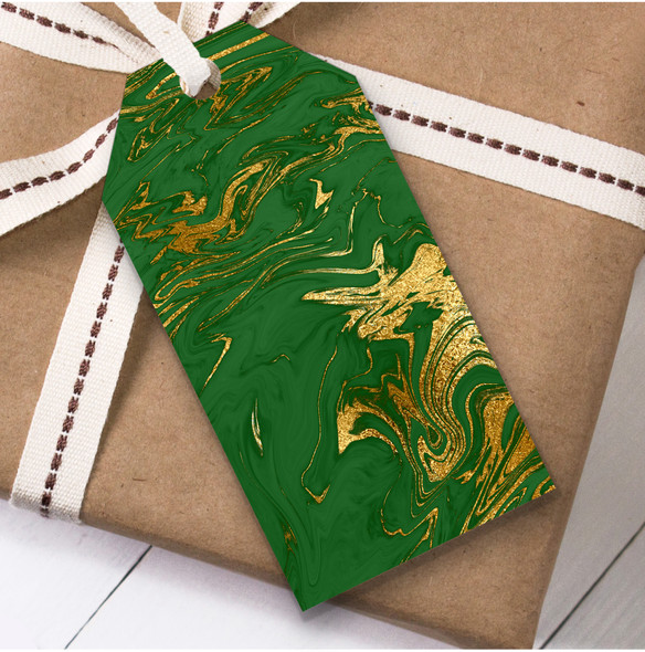 Green Gold Marble Christmas Gift Tags