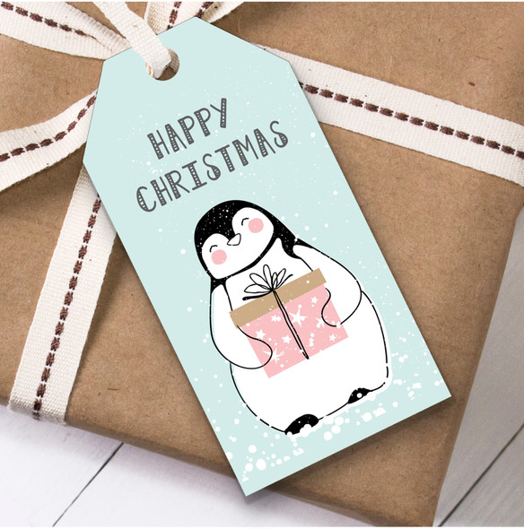 Penguin With Gift Christmas Gift Tags
