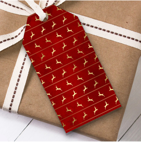 Red Gold Reindeer Christmas Gift Tags