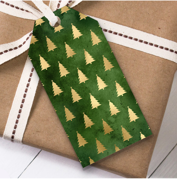 Green Gold Trees Christmas Gift Tags