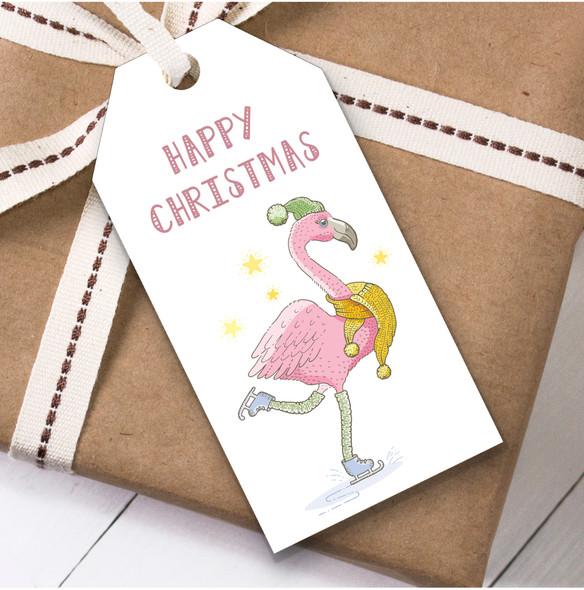 Skating Flamingo Christmas Gift Tags