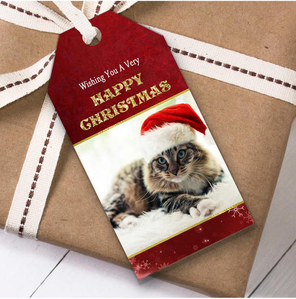 Cute Cat In Hat Christmas Gift Tags