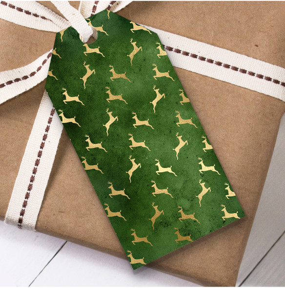 Green Gold Deer Christmas Gift Tags