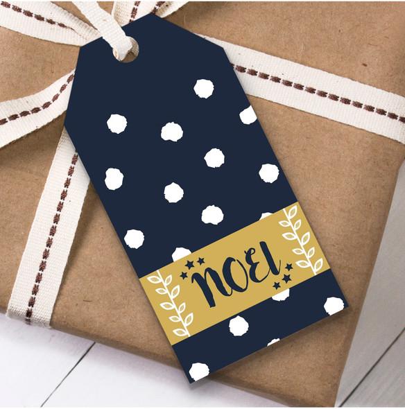 Navy Blue Noel Christmas Gift Tags