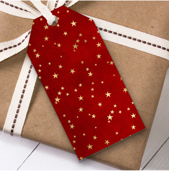 Red Gold Stars Christmas Gift Tags