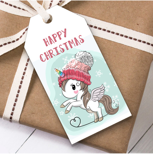 Unicorn In Hat Christmas Gift Tags