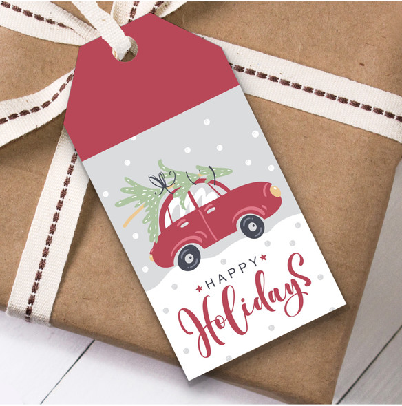 Car With Tree Christmas Gift Tags