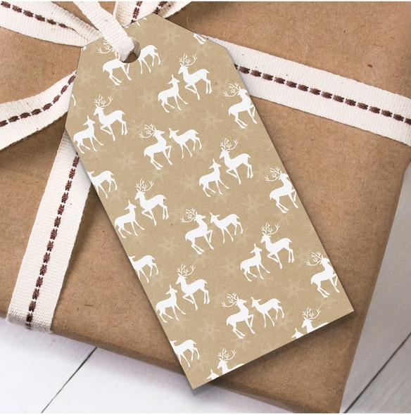 Beige Deer Christmas Gift Tags