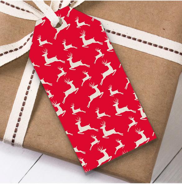 White Deer Christmas Gift Tags