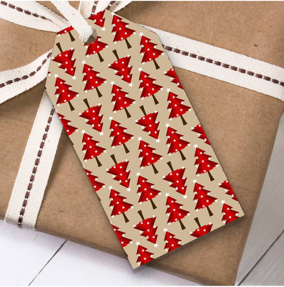 Red Trees Christmas Gift Tags