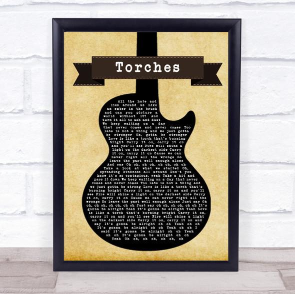 Torches Black Guitar Song Lyric Print