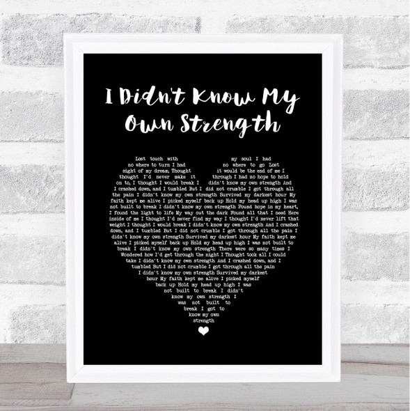 Whitney Houston I Didn't Know My Own Strength Black Heart Song Lyric Print