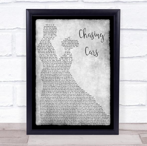 Snow Patrol Chasing Cars Grey Song Lyric Man Lady Dancing Quote Print