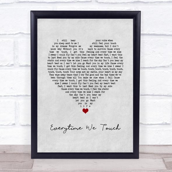 Cascada Everytime We Touch Grey Heart Song Lyric Print