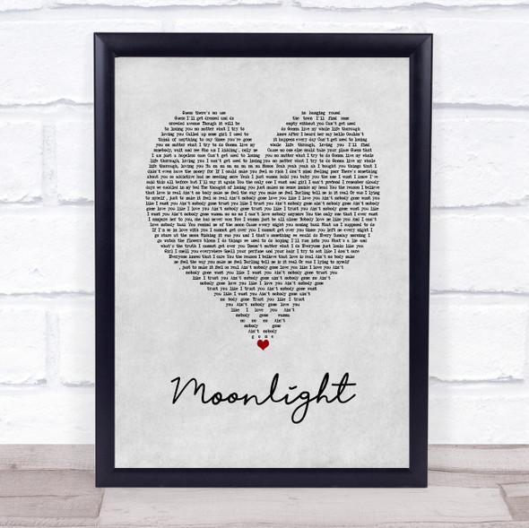 Ali Gatie Moonlight Grey Heart Song Lyric Print