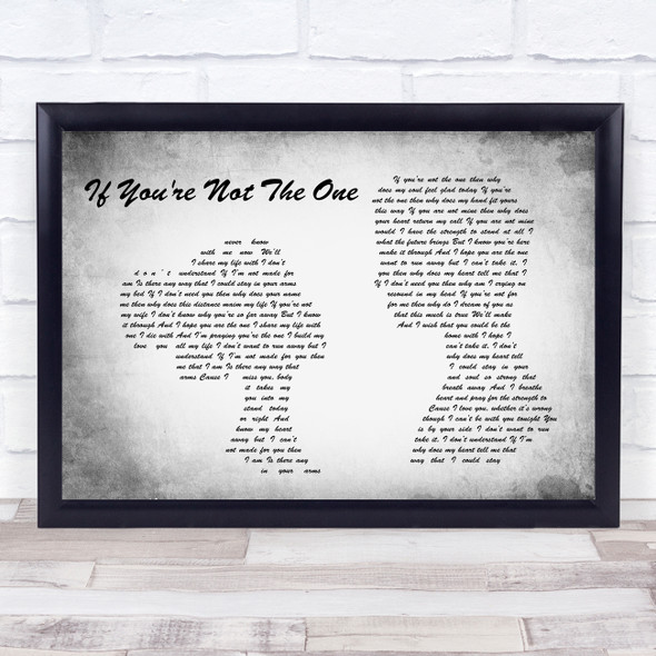 Daniel Bedingfield If You're Not The One Man Lady Couple Grey Song Lyric Print