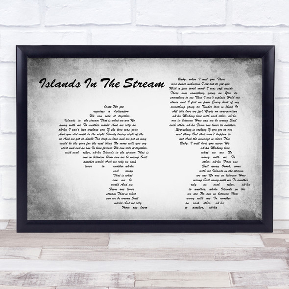 Kenny Rogers & Dolly Parton Islands In The Stream Man Lady Couple Grey Print