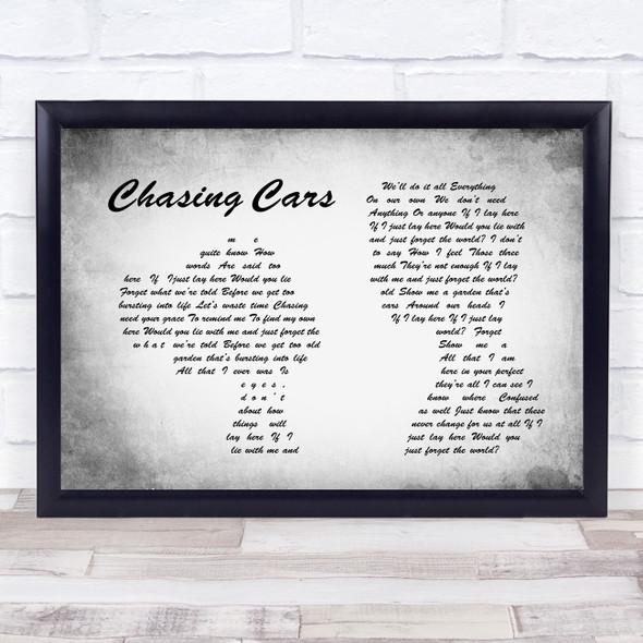 Snow Patrol Chasing Cars Man Lady Couple Grey Song Lyric Quote Print