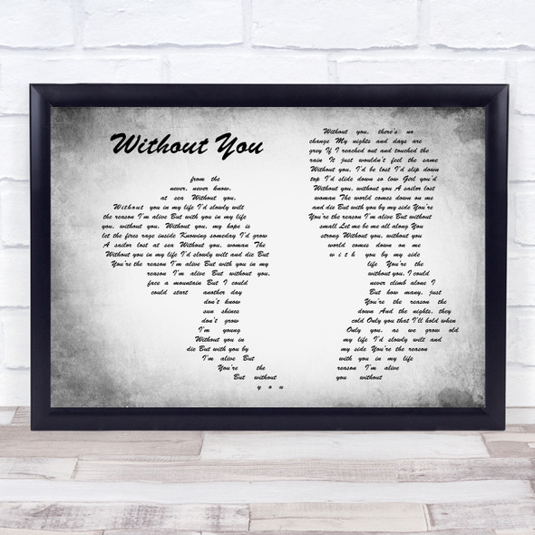 Motley Crue Without You Man Lady Couple Grey Song Lyric Quote Print