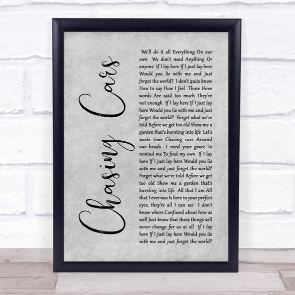Snow Patrol Chasing Cars Rustic Script Grey Song Lyric Quote Print