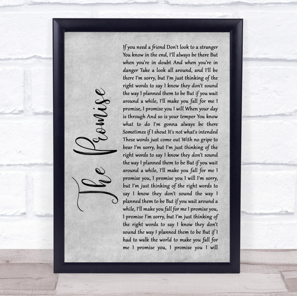 Sturgill Simpson The Promise Rustic Script Grey Song Lyric Quote Print