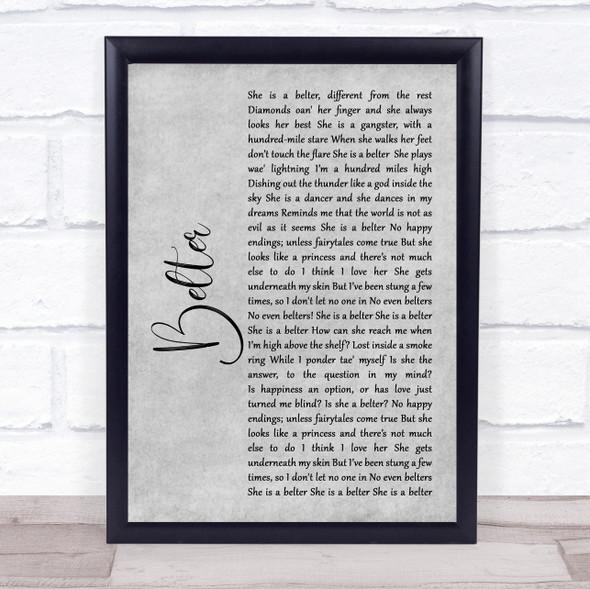Gerry Cinnamon Belter Rustic Script Grey Song Lyric Quote Print