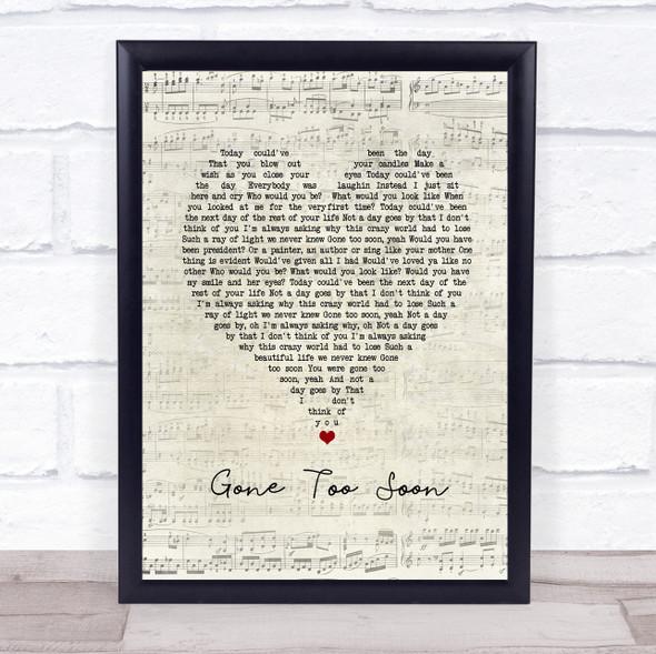 Gone Too Soon Script Heart Song Lyric Print