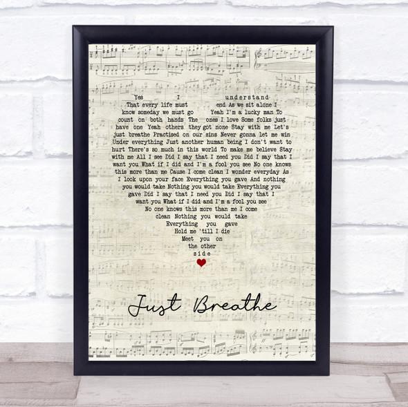 Pearl Jam Just Breathe Script Heart Song Lyric Print