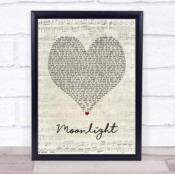 Ali Gatie Moonlight Script Heart Song Lyric Print
