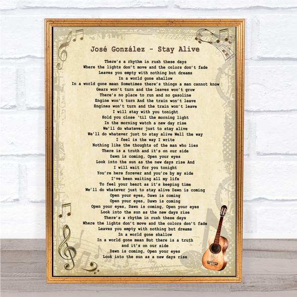 José González Stay Alive Vintage Guitar Song Lyric Print
