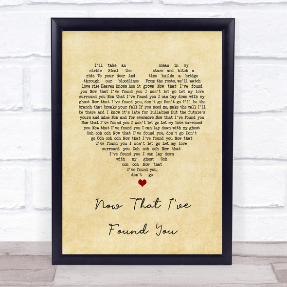 Liam Gallagher Now That I've Found You Vintage Heart Song Lyric Print