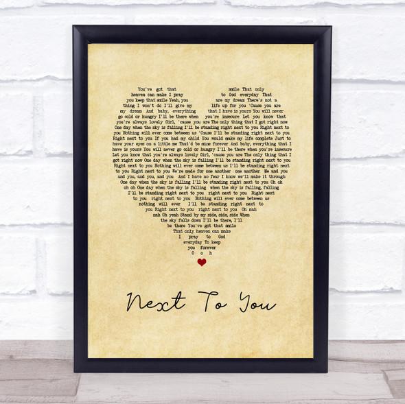 Chris Brown Next To You Vintage Heart Song Lyric Print